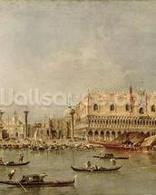The Piazzetta and the Palazzo Ducale from the Basin of San Marco (oil on canvas) wallpaper mural thumbnail