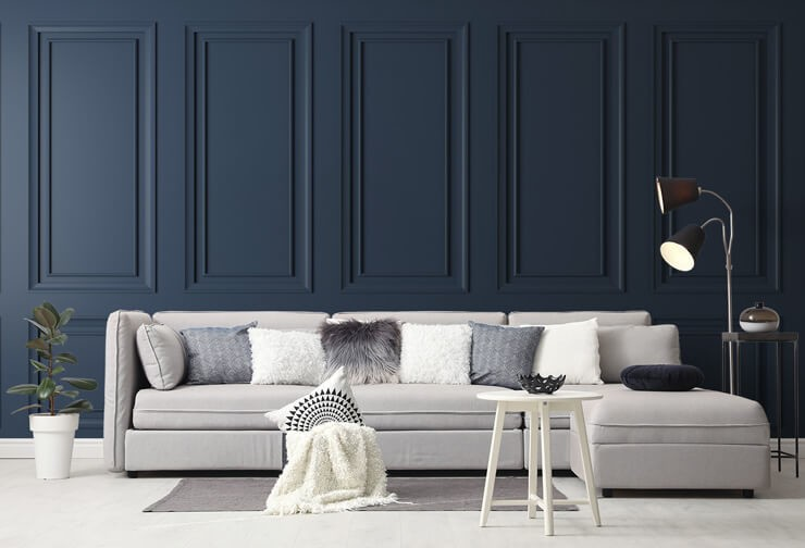 navy blue panel wall mural in stylish grey living room