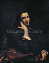 The Man with the Leather Belt. Portrait of the Artist, c.1846 (oil on canvas) wall mural thumbnail