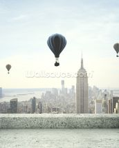 Air balloon on sky mural wallpaper thumbnail