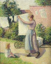 Woman Hanging up the Washing, 1887 (oil on canvas) wall mural thumbnail