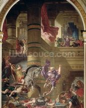The Expulsion of Heliodorus from the Temple, 1853-63 (oil & wax on plaster) wall mural thumbnail