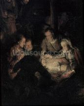 The Adoration of the Shepherds, detail, 1646 (oil on canvas) (detail of 142128) wallpaper mural thumbnail