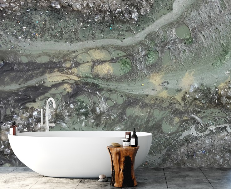 green rock surface wallpaper behind bath