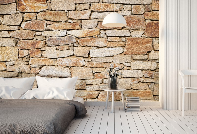 stone-wallpaper-guest-bedroom-ideas