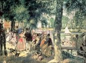 Bathing on the Seine or, La Grenouillere, c.1869 (oil on canvas) wall mural thumbnail