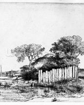 Cottage with a white paling, 1648 (etching) wallpaper mural thumbnail