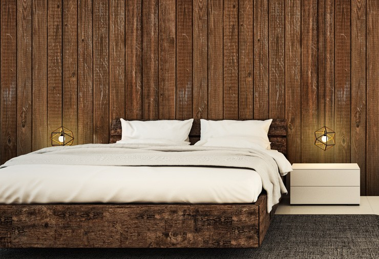 natural wood effect wallpaper in farmhouse bedroom