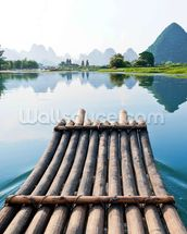 Bamboo Rafting on Li River wall mural thumbnail