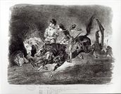 Mephistopheles and Faust riding in the Night, Illustration for Faust by Goethe, 1828 mural wallpaper thumbnail