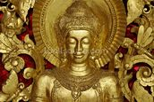 Buddha Carving at temple, Luang Prabang, Laos. wall mural thumbnail
