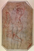 Study of Figures and the Creation of Adam (pencil & red chalk on paper) (verso) mural wallpaper thumbnail