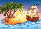 Treasure Island Sunset mural wallpaper thumbnail