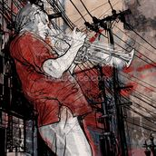 Street Saxophone Player wall mural thumbnail