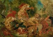 Study for The Lion Hunt, 1854 (oil on canvas) wall mural thumbnail
