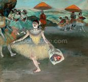 Dancer with bouquet, curtseying, 1877 (pastel on paper) wallpaper mural thumbnail