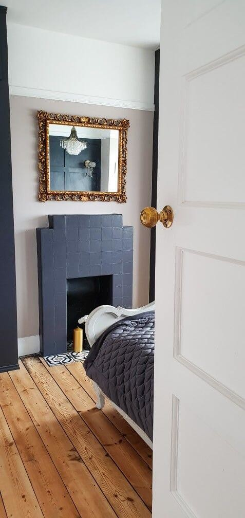 blue tile art deco hearth in bedroom