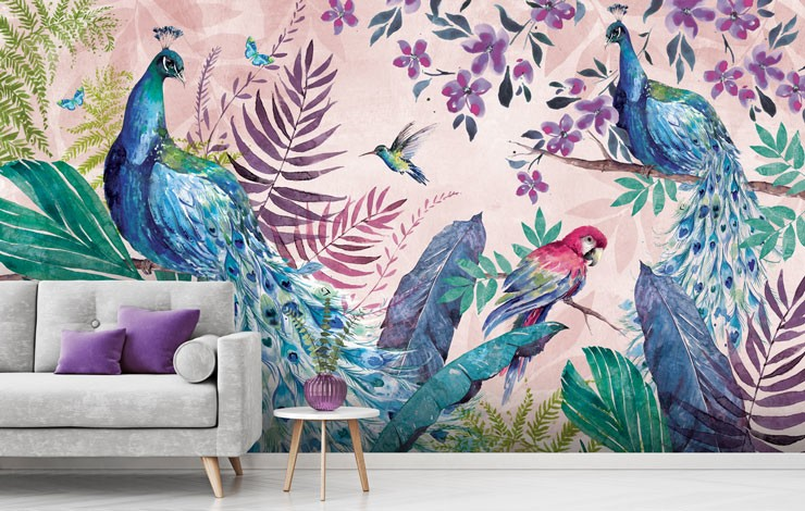peacocks and parrot with lilac jungle wallpaper in grey and purple lounge