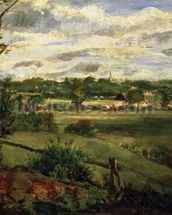 View of Highgate from Hampstead Heath, c.1834 (oil on cardboard) wall mural thumbnail