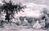The Entrance to the Village of Edensor The Entrance to the Village of Edensor, 1801 (pencil and sepia wash) wallpaper mural thumbnail