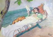 Woman Lying on a Bench, 1913 (w/c on paper) wall mural thumbnail
