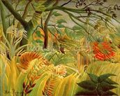 Tiger in a Tropical Storm (Surprised!) 1891 (oil on canvas) wallpaper mural thumbnail