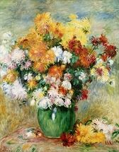 Bouquet of Chrysanthemums, c.1884 (oil on canvas) mural wallpaper thumbnail