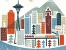 Colourful Seattle wall mural thumbnail