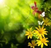 Flowers and Butterfly mural wallpaper thumbnail