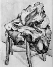 Drapery on a Chair, 1980-1900 (pencil and w/c wash on paper) (b/w photo) wall mural thumbnail