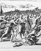 The Massacre of the Innocents, engraved by Marcantonio Raimondi (engraving) (b/w photo) wall mural thumbnail