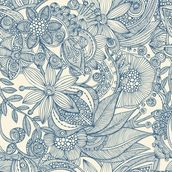 Flowers and doodles blue wall mural thumbnail