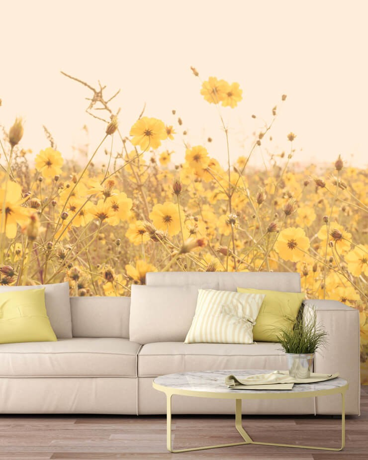 vintage-yellow-floral-wallpaper-in-lounge