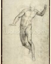 Study for The Last Judgement (W.54 recto) (pencil on paper) wallpaper mural thumbnail