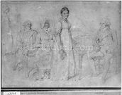 The Forestier Family, 1806 (graphite on paper) (b/w photo) (see also 233242) wall mural thumbnail