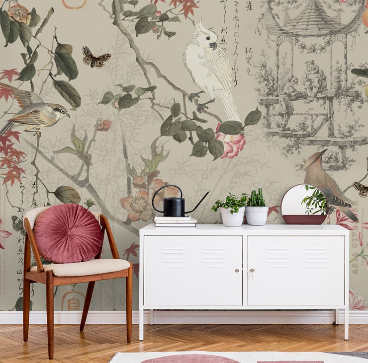 vintage chinese garden painting wallpaper in white and pink themed lounge