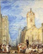High Street, Edinburgh, c.1818 (w/c, pen, ink, graphite and scratching out on wove paper) mural wallpaper thumbnail