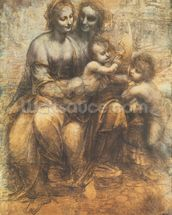 The Virgin and Child with Saint Anne, and the Infant Saint John the Baptist, c.1499-1500 (charcoal heightened with white chalk on paper, mounted on canvas) wall mural thumbnail