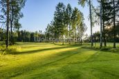 Sunset on golf course in Poland wallpaper mural thumbnail