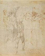 Male group and seated figure with child (pen & ink, charcoal) wallpaper mural thumbnail