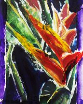 Heliconia - Batik On Rice Paper mural wallpaper thumbnail
