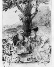Four orientals seated under a tree, c.1659 (pen, ink & wash on paper) wallpaper mural thumbnail