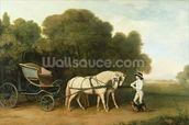 A Phaeton with a Pair of Cream Ponies in the Charge of a Stable-Lad, c.1780-5 (oil on panel) wallpaper mural thumbnail
