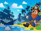Pirate on Shore wall mural thumbnail