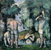 The Five Bathers, c.1875-77 (oil on canvas) mural wallpaper thumbnail