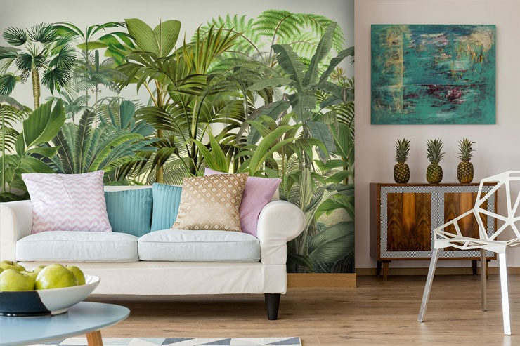 illustrated green jungle in mixed colour lounge with white settee