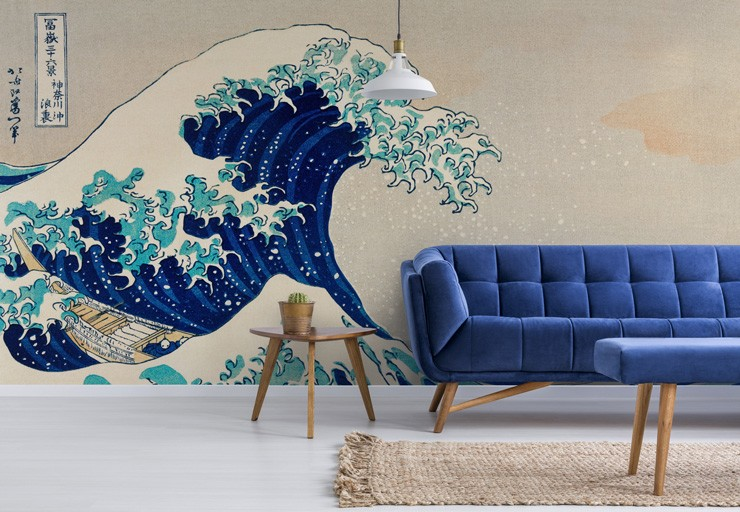 japanese wave art wallpaper in navy lounge