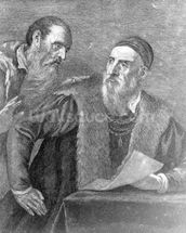 Portrait of Titian painted by himself with his friend Don Francesco del Mosaico (etching) wall mural thumbnail