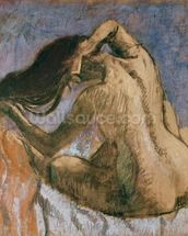 Woman Combing her Hair, 1905-10 (pastel on paper) wallpaper mural thumbnail