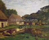 A Farmyard in Normandy, c.1863 (oil on canvas) wall mural thumbnail